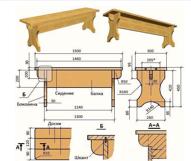 Чертеж скамейки для бани