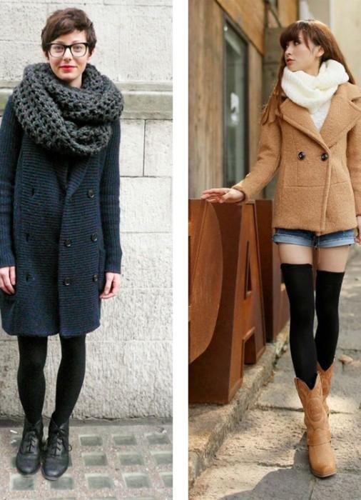 Как носить шарф-хомут с прямым пальто