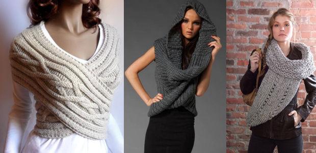 Как носить шарф-хомут: способ пятый