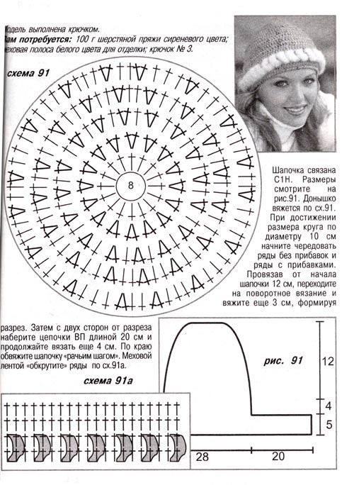 Вяжем шапку крючком схема 2