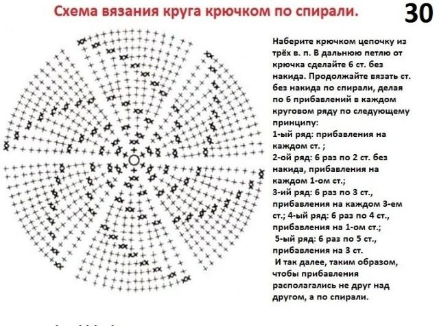 Как вязать крючком спиральку схема