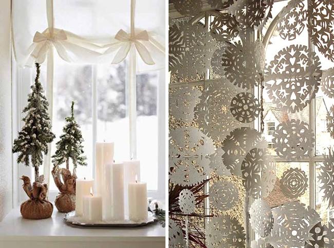 Гирлянда из снежинок на окно
