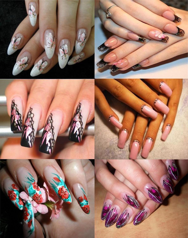 Нарощенные ногти с дизайном или рисунком фото