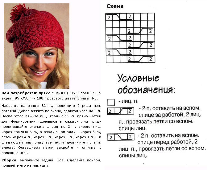шапки связанные спицами схемы описание