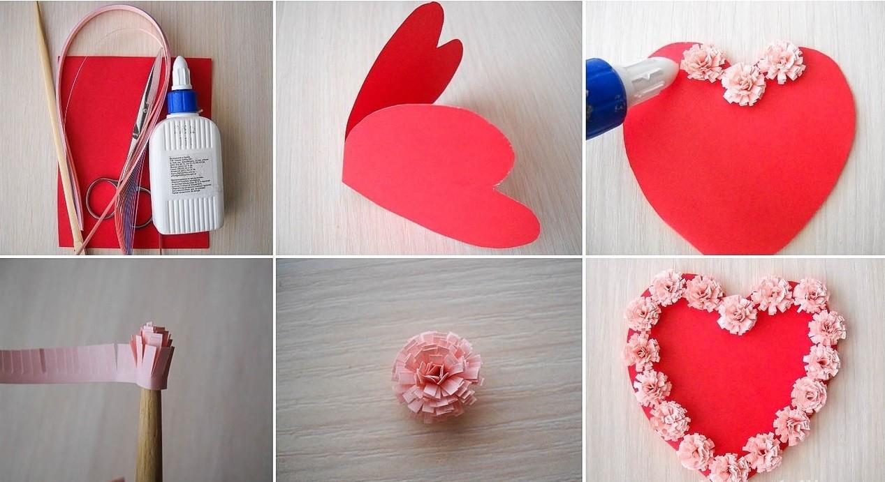 Подарок для мамы своими руками из бумаги открытка с объёмным сердечком 31