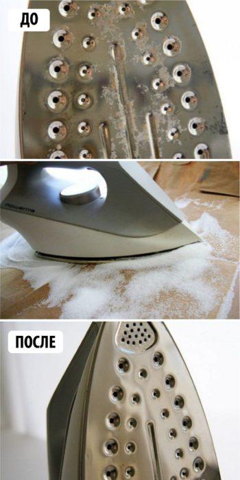 Чистим утюг от нагара солью?