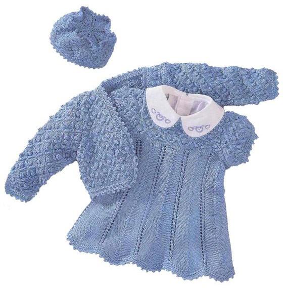 Вяжем платье, болеро и шапку для девочек спицами