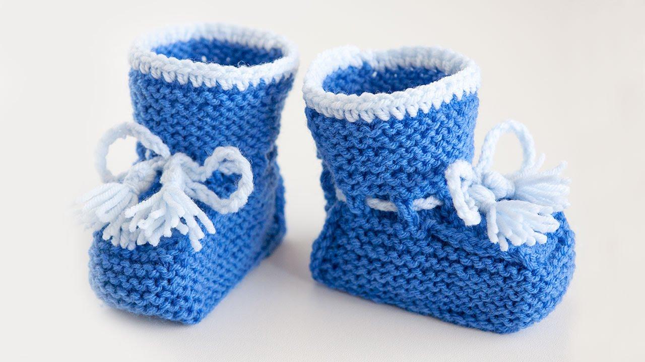 Вязание спицами для начинающих детские пинетки на