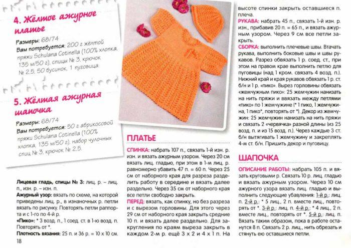 Как связать ажурное платье спицами дляя девочки от 0 до 3 лет