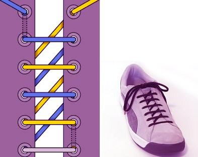 Завязываем шнурки красиво: способ 2