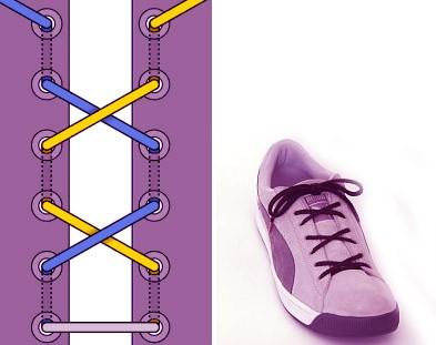 Завязываем шнурки красиво: способ 3