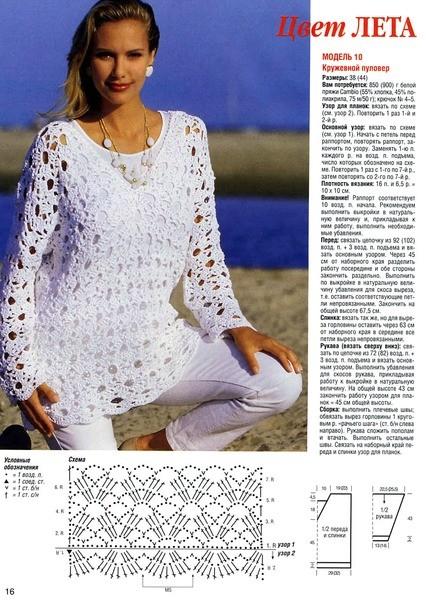 Вязание крючком для женщин модные модели пуловеров