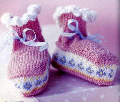 Пинетки спицами для новорожденных схема 4