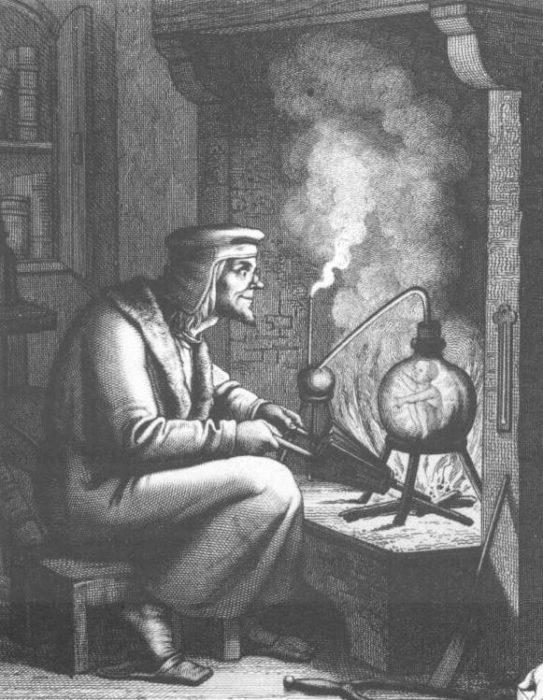 Средневековый гомункул в лаборатории алхимика