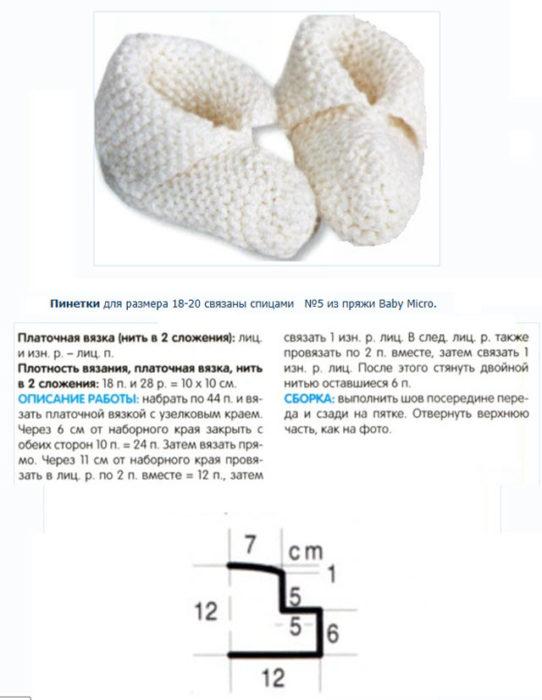 Пинетки спицами для новорожденных схема 3