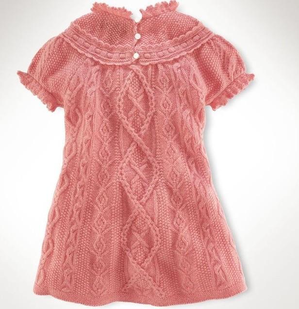 Вязание спицами платья для девочки от 1 до 3 лет: спинка