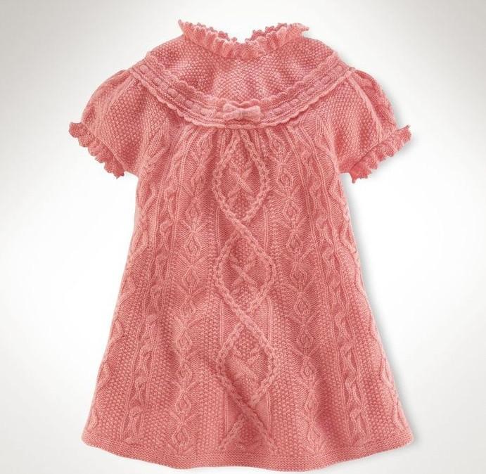 Вязание спицами платья для девочки от 1 до 3 лет