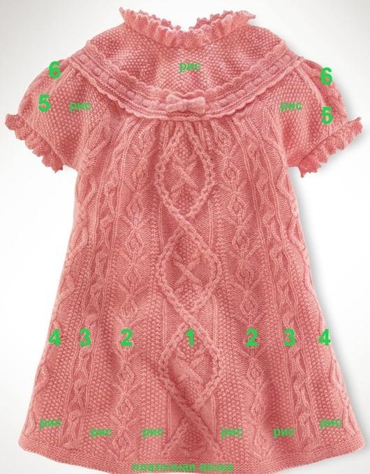 Вязание спицами платья для девочки от 1 до 3 лет: узоры