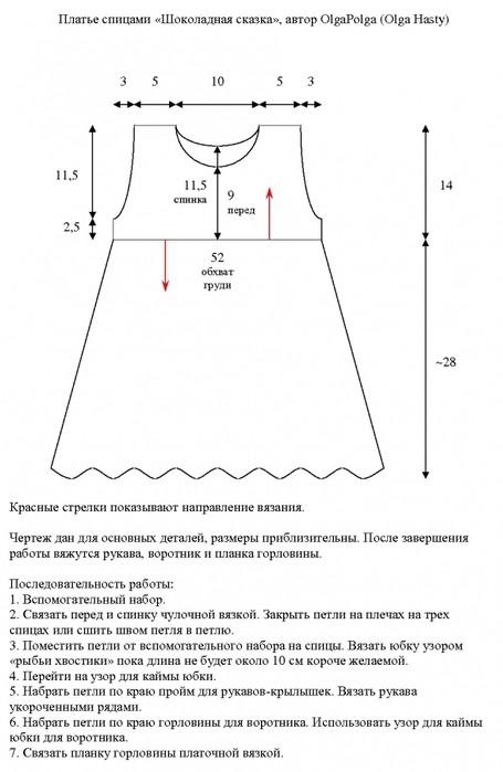 Вязание платья для малышки 1-3 лет: чертеж