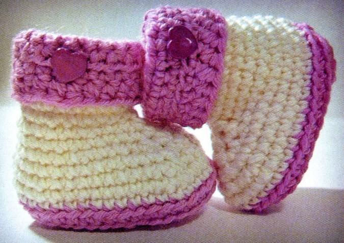 Вязание пинеток для новорожденных: сапожки крючком