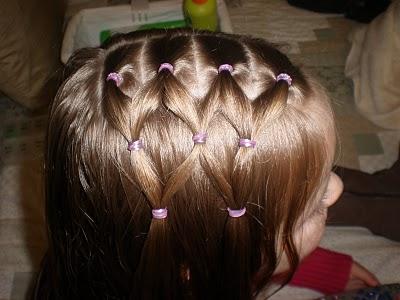 Прическа для девочки из косичек и хвостов 3
