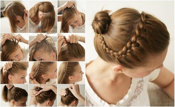 Косички для девочек с пошаговыми фото: коса с пучком