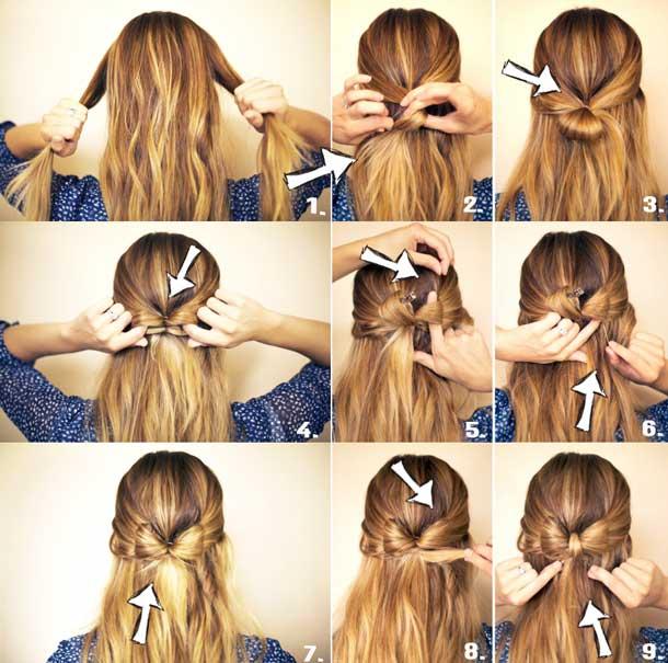 Как заплести бантик на волосах схема