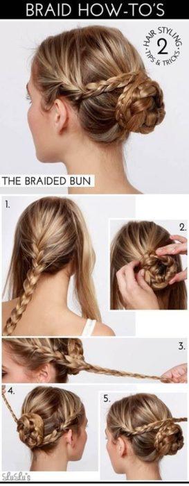 Пучок из кос для девочки