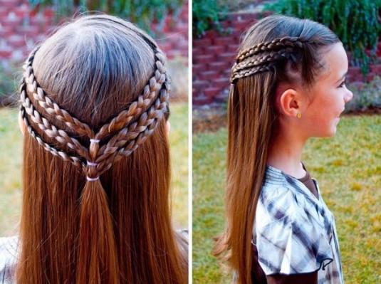 Косички для девочек на длинные волосы: вариант 1