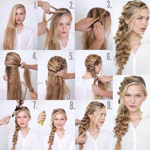 Объемная французская коса для девушки