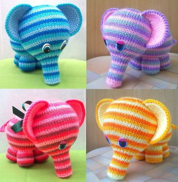 Вязаные игрушки своими руками: радужный слоненок