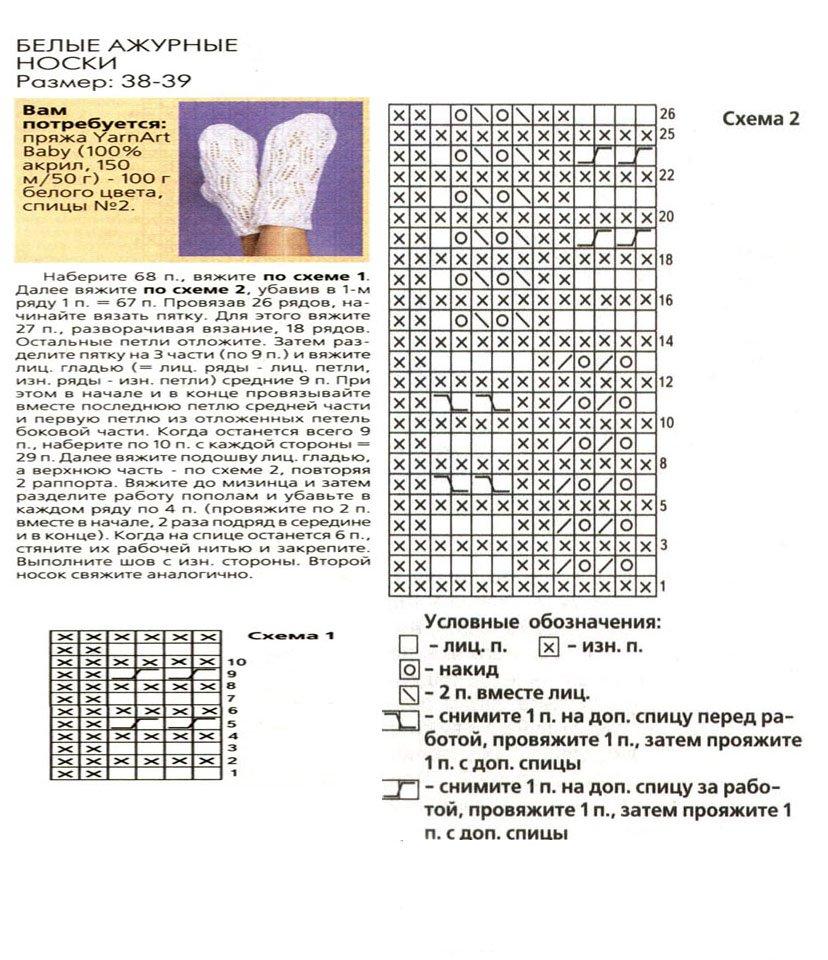 Вязание ажурных носочков схема