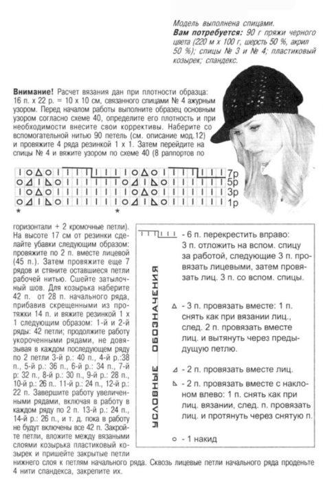 Вязанные шапки спицами для женщин за 50: схема с козырьком