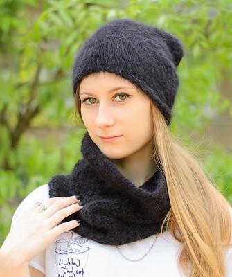 Вязание шапок спицами для женщин: модель 2017 - черная ангора