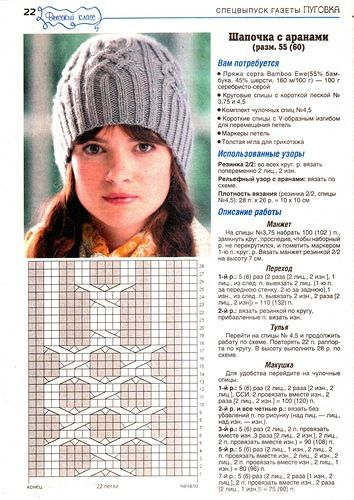 Узоры и схемы для вязания спицами мужских и женских шапок.