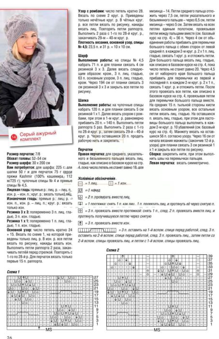 Вязанные шапки спицами для женщин за 50: схема вязания комплекта