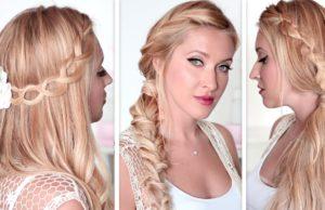 Красивый колосок на длинные волосы