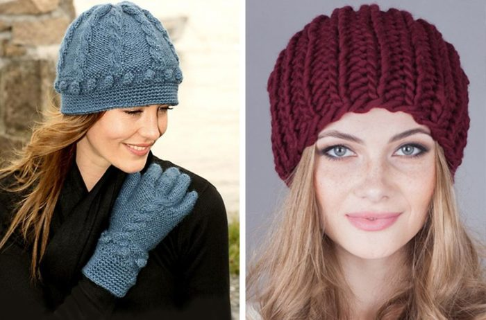 Вязаные шапки для женщин 50 лет: крупная вязка
