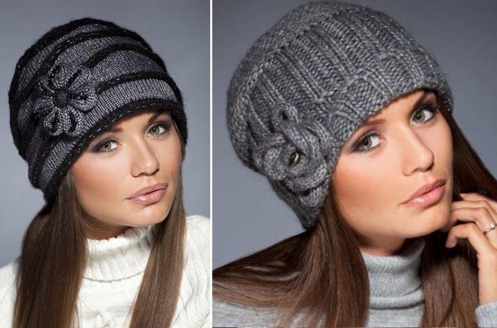 Вязаные шапки для женщин 50 лет: шапка с декором