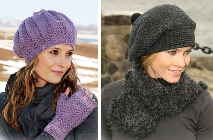 Вязаные шапки для женщин 50 лет: береты