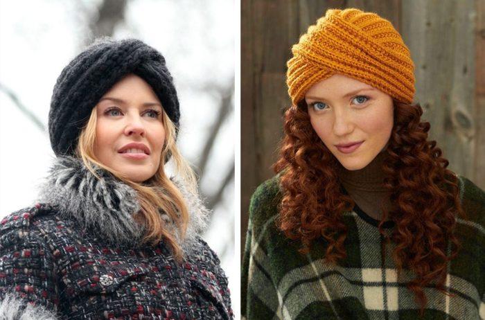 Вязаные шапки для женщин 50 лет: шапка-тюрбан