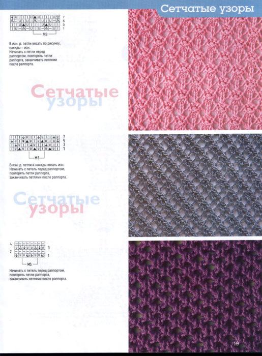 Узоры для вязания на спицах: схемы сетчатых