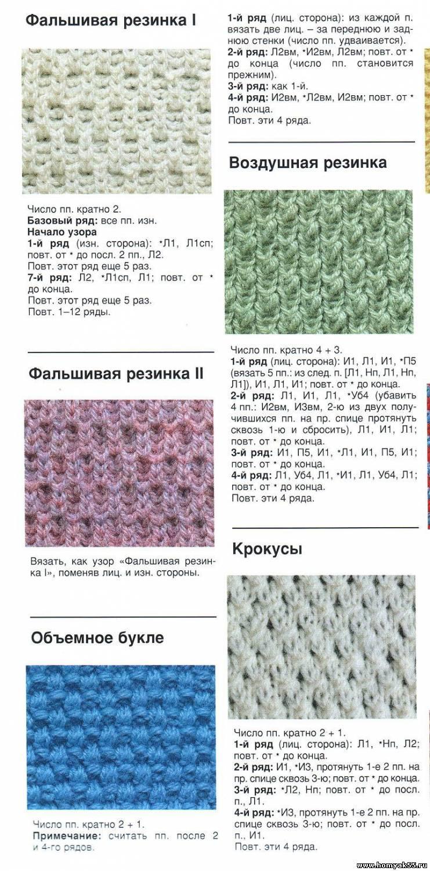 Виды резинка спицами схема вязания