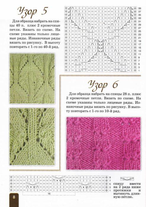 Узоры спицами с описанием и схемами: узоры № 5 и 6