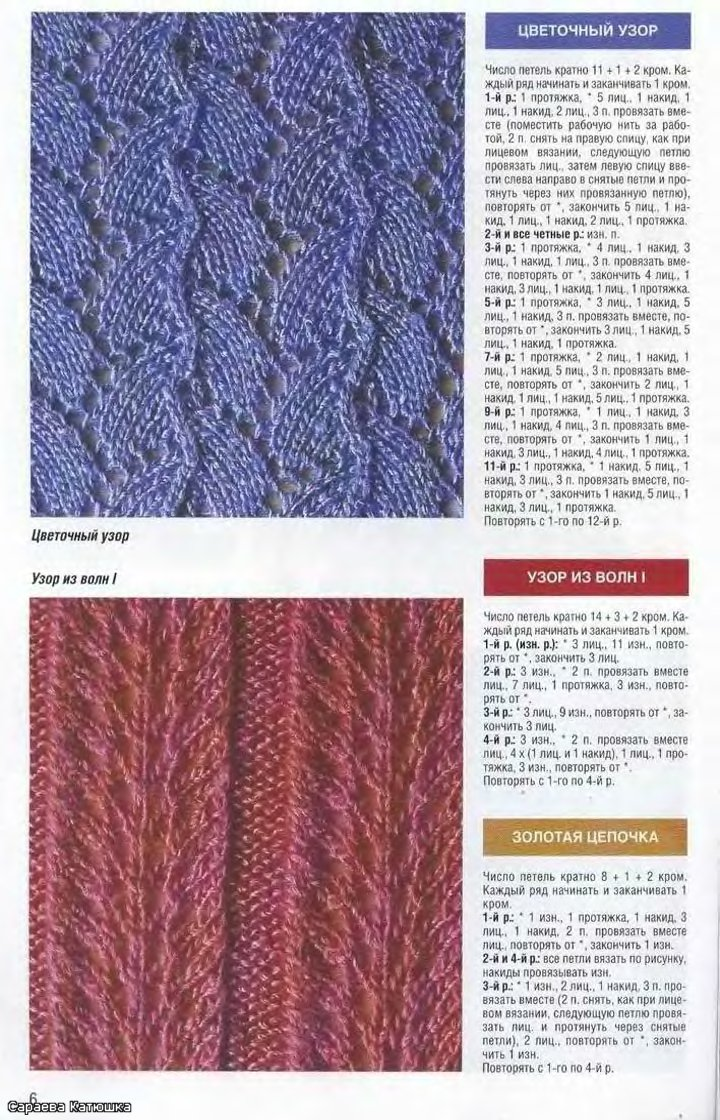 Ажурные схемы вязания шарфа на спицах