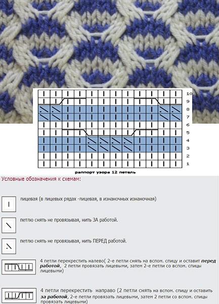 Схемы вязания спицами в 2 цвета 24