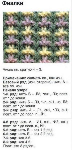 """Узоры для вязания на спицах: двухцветный """"фиалки"""""""