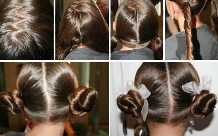 Прически на длинные волосы: жгутики для малышки