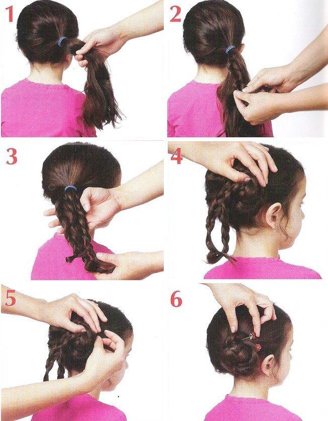 Прически на длинные волосы для девочки: пучок из кос