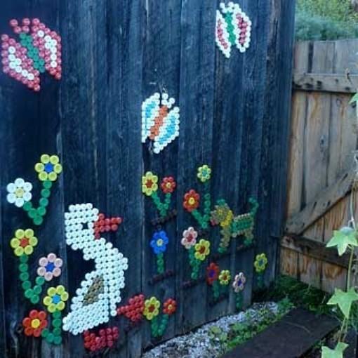 Поделки для сада своими руками: декор из крышек